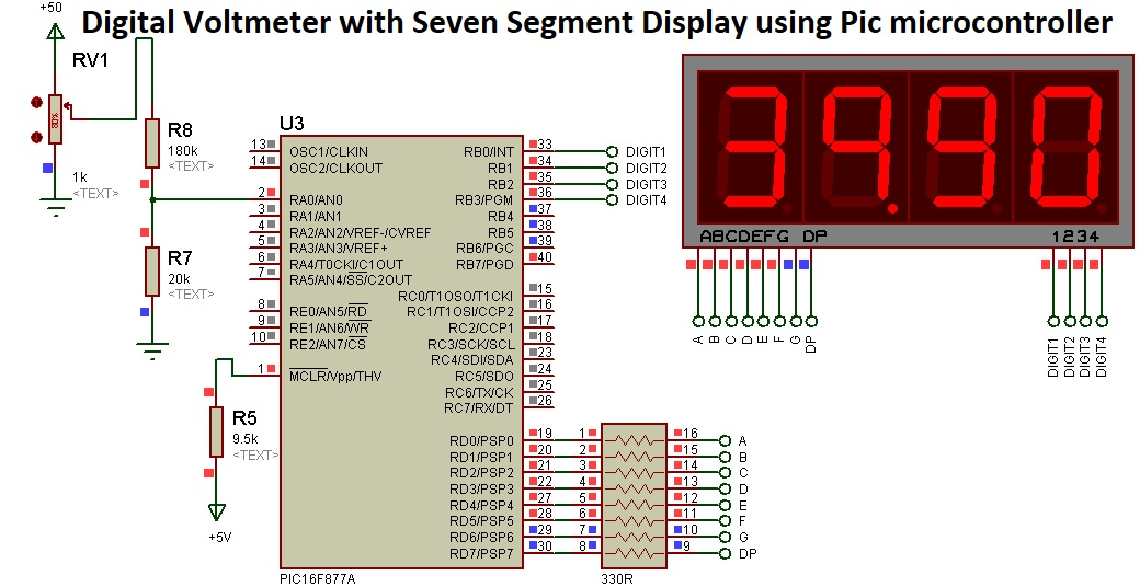 digital voltmeter with seven segment display and pic microcontroller