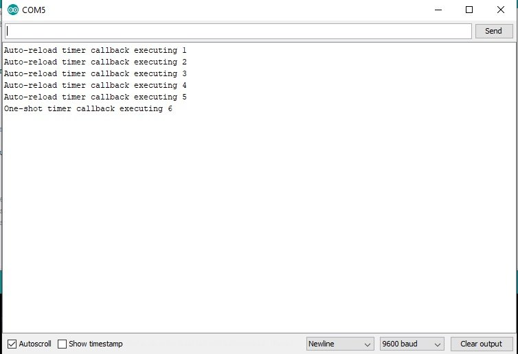 FreeRTOS software timer ID update and query example with Arduino
