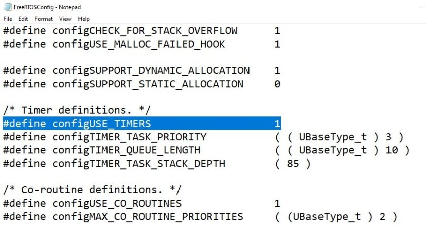 FreeRTOS software timers configuration setting
