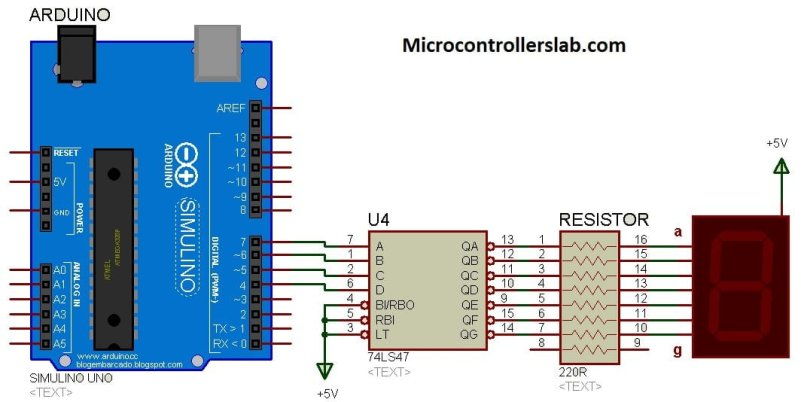 7 Segment Display interfacing with 74LS47 using Arduino