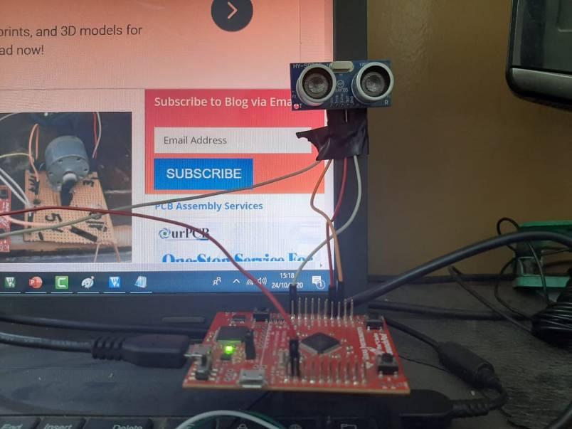 TM4C123 Tiva Launchpad with HC-SR04 ultrasonic sensor interfacing example