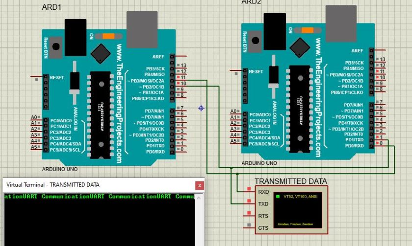 Connection diagram between Two Arduio boards for serial communication proteus simulation