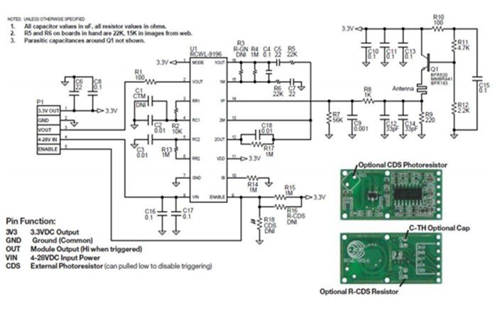 RCWL0516 internal circuit diagram