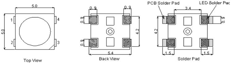 WS2812B LED 2D Dimensions