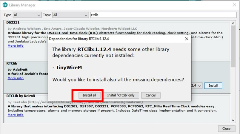 DS3231 library software dependency libraries