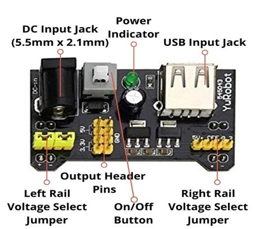 MB102 Breadboard Power Supply Module pinout