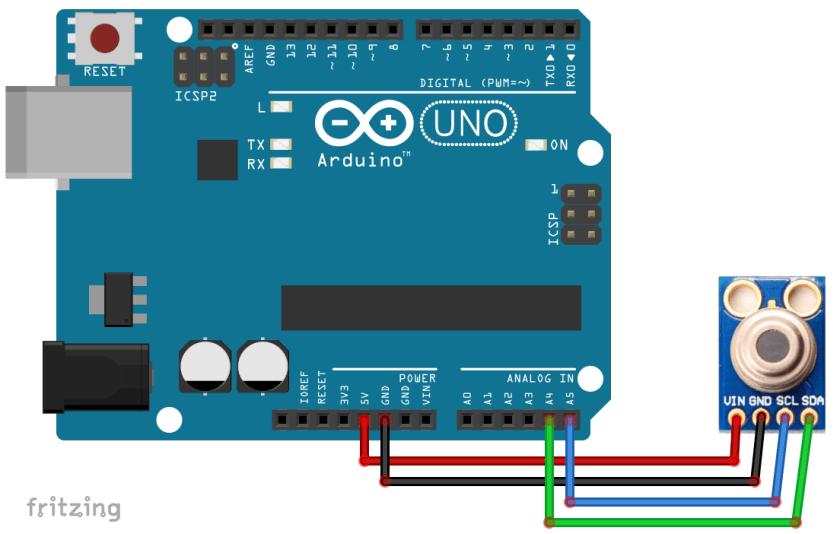 MLX90614 Non-Contact IR Temperature Sensor interfacing with Arduino