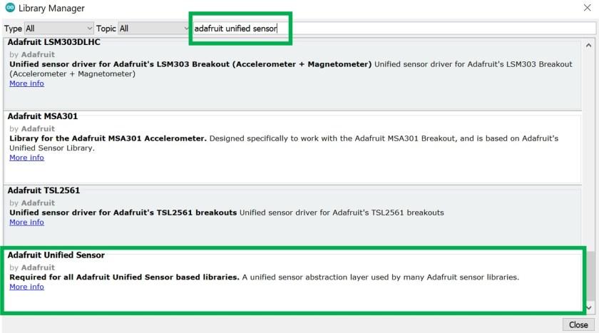 Adafruit unified sensor library arduino ide