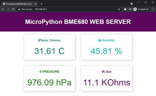 BME680 web server with micropython esp32 esp8266 display temperature gas humidity and pressure
