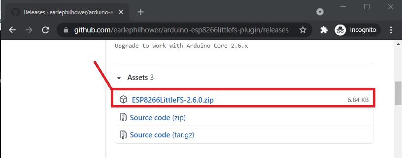 Download ESP8266 File system uploader plugin