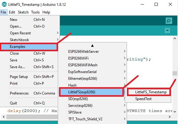 LittleFS timestamp update example code