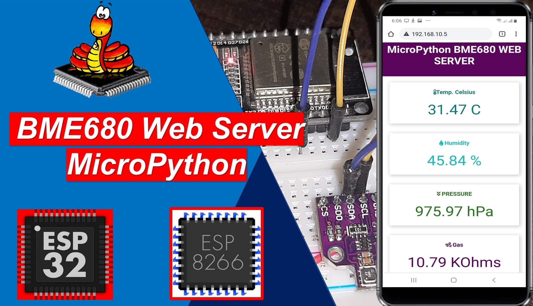 MicroPython ESP32 ESP8266 BME680 web server
