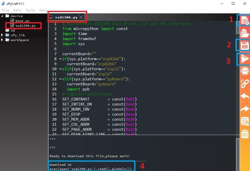 Uploading OLED Library with uPyCraft IDE
