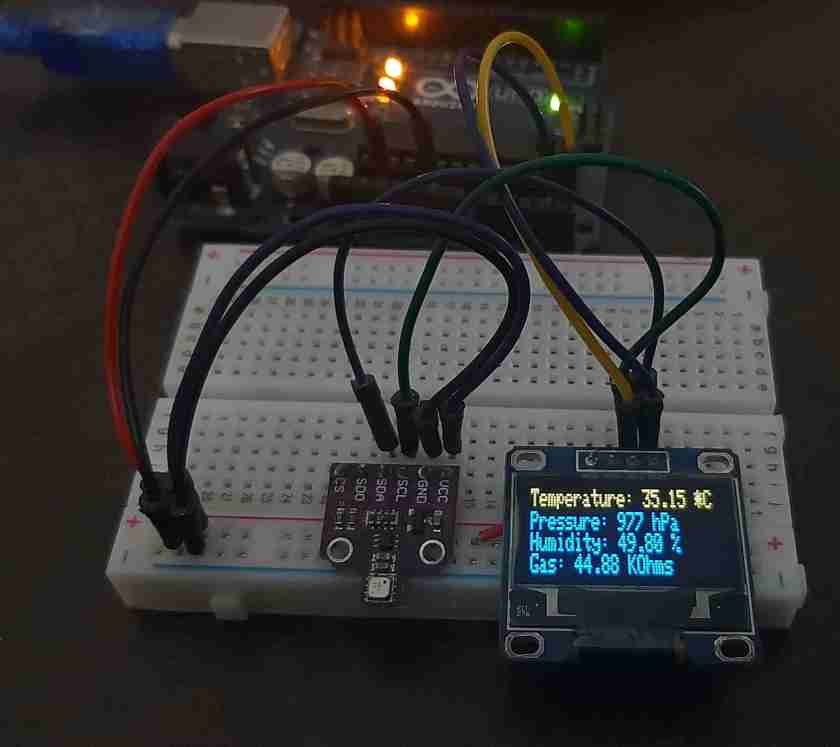 BME680 with ESP8266 NodeMCU and OLED Arduino IDE demo