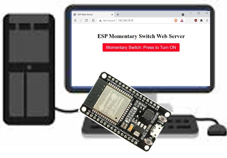ESP32 ESP8266 Momentary Switch Web Server Control GPIO Outputs