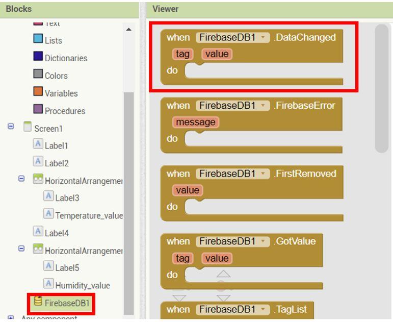 ESP32 Google Firebase build your own app MIT Inventor 11