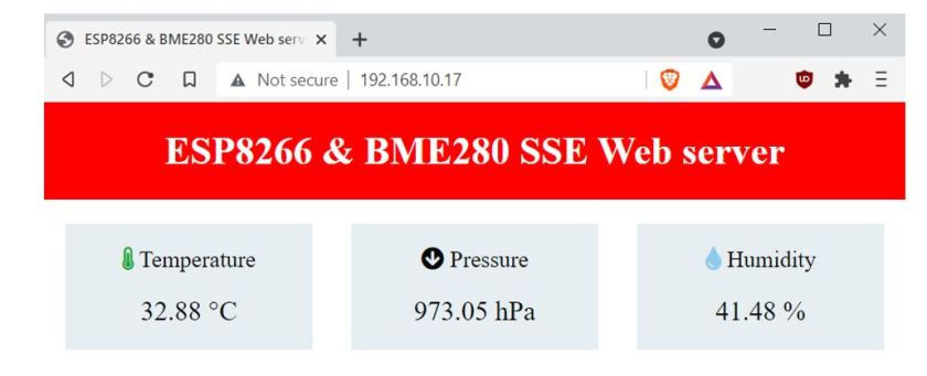 ESP8266 and BME280 SSE Web server demo1