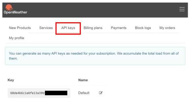 HTTP GET OpenWeatherMap API key