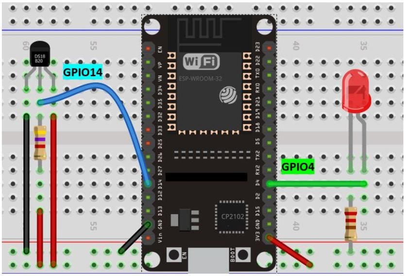 ESP32 ds18b20 with led schematic diagram