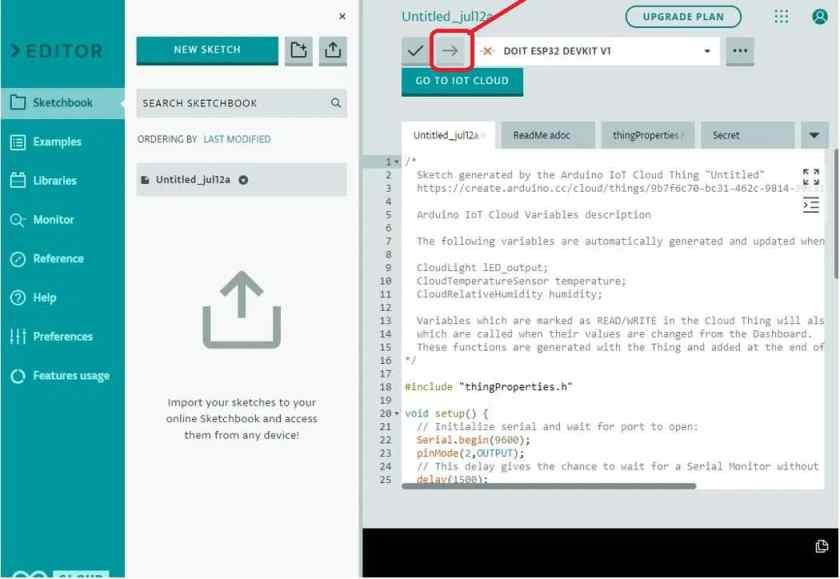 upload code to esp32 with arduino iot cloud