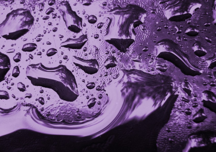 water droplets on a purple background