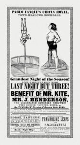"19th century circus poster which inspired ""Being For The Benefit of Mr Kite!"" [Public Domain]"