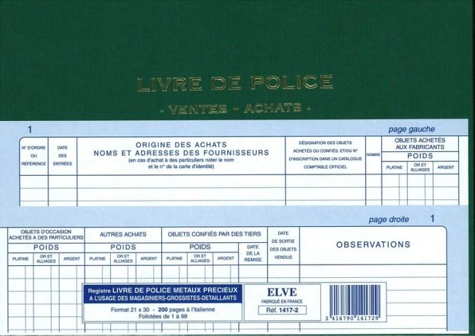 Exemple d'un livre de police.