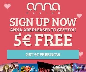 Anna Casino 80 free spins and €5 free chips - no deposit bonus