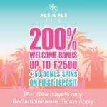 Miami Dice Online Casino – 200 bonus spins   325% up to £3500 bonus