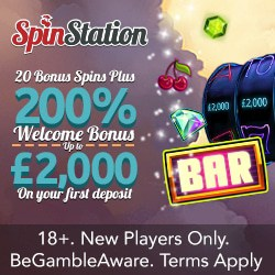 Spin Station Casino 375% up to £3000 bonus and 100 gratis spins
