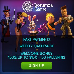 Bonanza Game - $850 bonus and 150 free spins - Microgaming Slots
