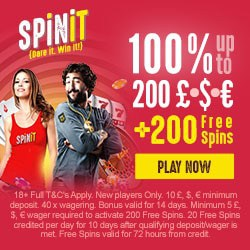 SpinIt Casino 200% bonus up to $1000 plus 200 extra free spins