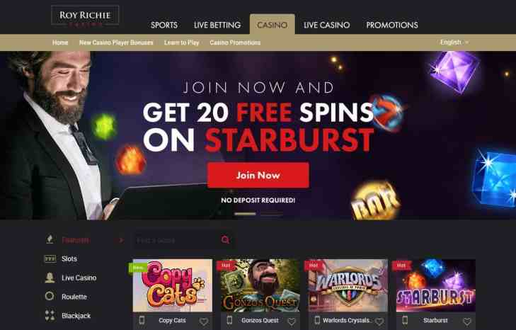 Roy Richie Casino 20 free spins - no deposit required!