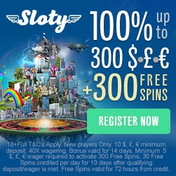 Sloty Casino - play with £1500 and 300 free spins welcome bonus!