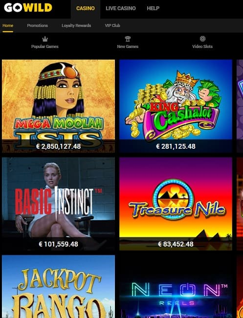 GoWild Casino free play and free spins bonuses