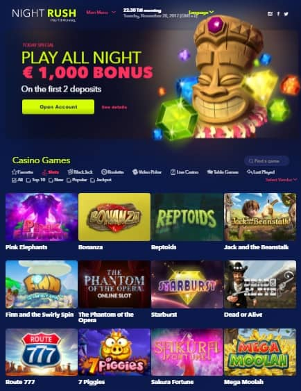 NightRush Casino Free Spins Bonuses