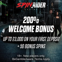 Spin Rider Casino 50 bonus spins + 200% up to €3000 free bonus
