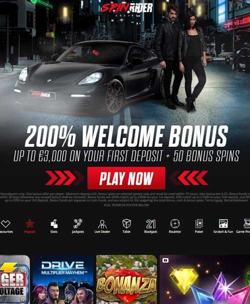 Spin Rider Casino free bonus money