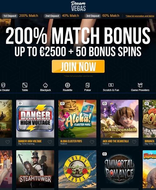 DreamVegas.com free spins casino