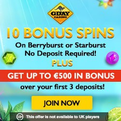 GDay Casino exclusive bonus: 10 free spins no deposit required