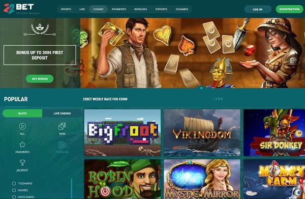 22Bet Casino rating and review