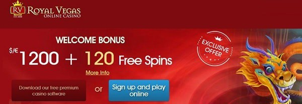 Royal Vegas 120 free spins and $1200 welcome bonus
