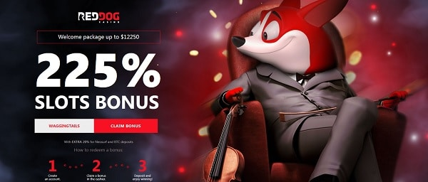 225% bonus for new depositors to Red Dog Casino!