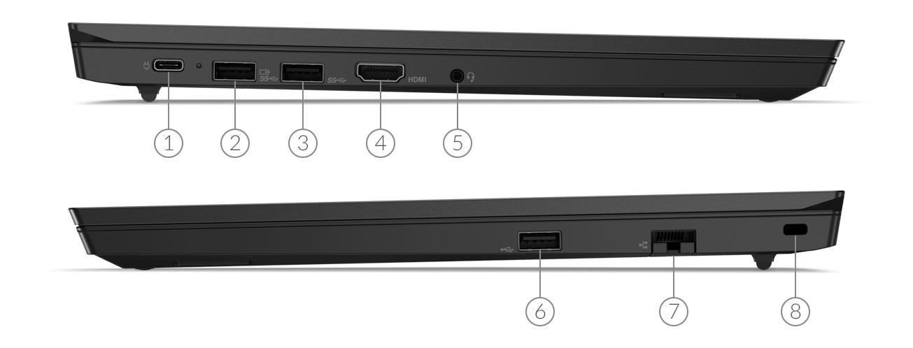 Lenovo ThinkPad E15 laptop side view showing ports