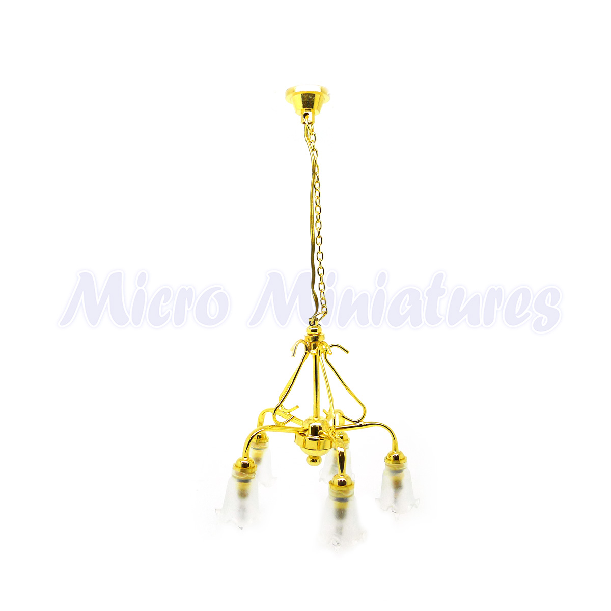 Dolls House 4 Down Arm Tulip Shade Chandelier 1 12 Scale