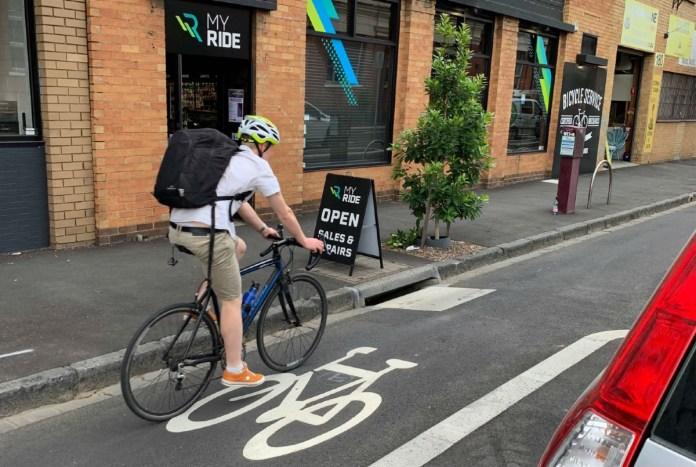 Man on bike at MelbCycleLane