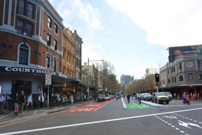 An artist's impression of the cycleway down the centre of Oxford Street