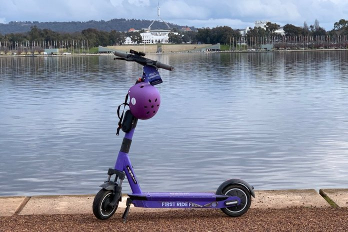 Beam e-Scooter in front of Parliament House