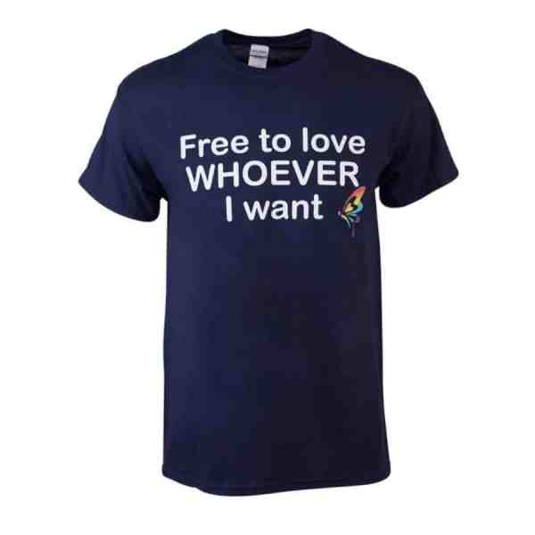 "T-Shirt ""Free to love whoever I want"" blue"