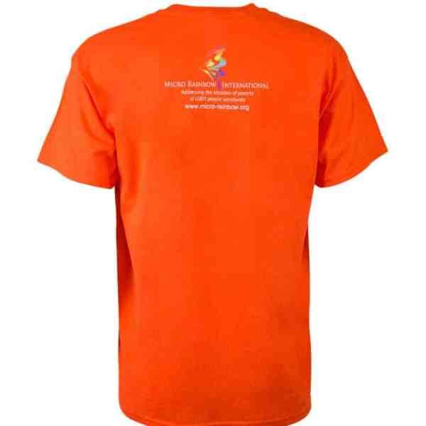 "T-Shirt ""Part gay, all human"" orange"